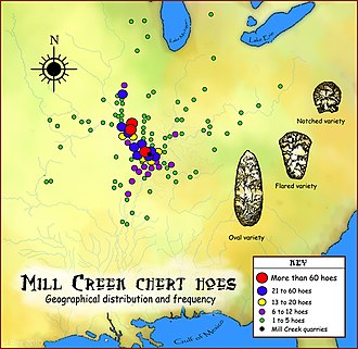 Mill Creek chert - A map showing the geographical distribution and frequency of Mill Creek chert finds