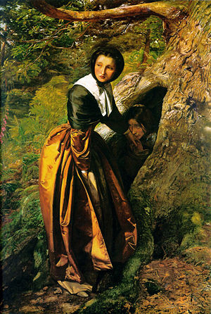Proscription - The Proscribed Royalist, 1651, painted by John Everett Millais c. 1853, in which a Puritan woman hides a fleeing Royalist proscript in the hollow of a tree