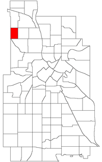 Location of Cleveland within the U.S. city of Minneapolis