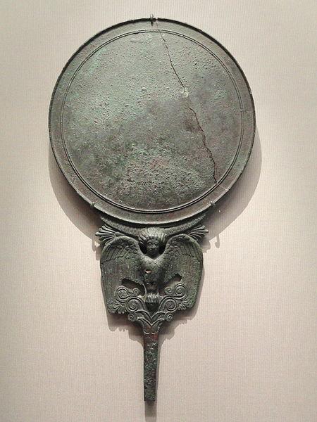 File:Mirror with Siren, about 450-400 BC, Greek, Locri Epizephirii, necropolis, Lucifero district, bronze - Cleveland Museum of Art - DSC08244.JPG