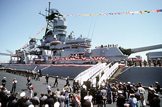 USS Missouri (BB-63) - Crewmen man the rails as Missouri formally recommissions in San Francisco, California