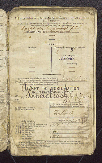 Mobilization - Belgian army mobilisation papers to join a Lanciers regiment
