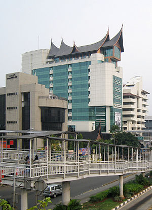 East Jakarta - The modern building featuring typical Minangkabau roof and vernacular architecture in East Jakarta