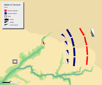 Dhiraar bin Al-Azwar - Deployment of troops on the fifth day. Dhiraar's troops were waiting on the far left to ambush routed Byzantine army.