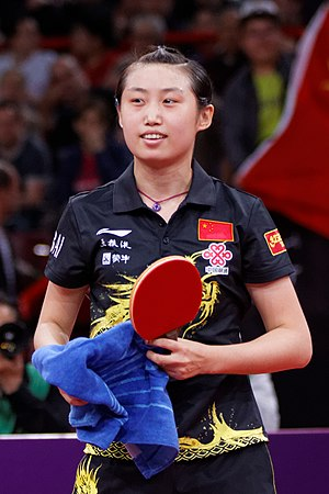 Guo Yue (table tennis) - Image: Mondial Ping Women's Doubles Final 69