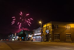 Fireworks seen from W. Hudson St. and S. Eau Claire St., July 4, 2020.