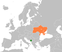 Map indicating locations of Montenegro and Ukraine