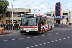 Moonee Valley Coaches bus at Moonee Ponds junction on route 506, 2012.jpg