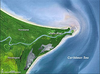 Mosquito Coast - The Wanks or Coco river, in the northern limit of the Mosquito Kingdom.