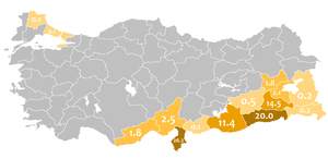 This map shows the distribution of people who spoke Arabic in 1965's Turkey