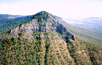 Main Range National Park - Near Cunninghams Gap, Mount Mitchell rises to an elevation of 1168 m.