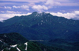Mount Takatsuma from Mount Hiuchi 1996-6-29.jpg