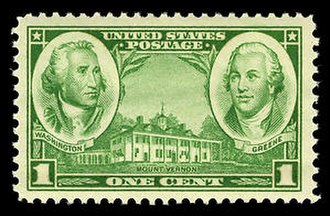 Nathanael Greene - A 1936 stamp depicting Washington and Nathanael Greene.