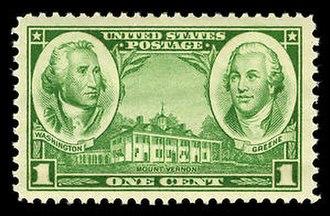 Nathanael Greene - A 1936 stamp depicting Washington and Nathanael Greene.