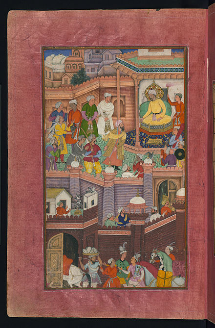 Timurid conqueror Babur exiles his treacherous relative Muhammad Husaym Mirza to Khorasan. Muhammad Husaym Mirza, a relative of Babur, in spite of his treachery, is being released and send to Khurasan.jpg