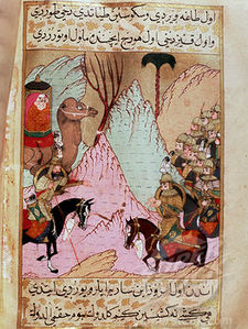 Muhammad's widow, Aisha, battling the fourth caliph Ali in the Battle of the Camel.jpg