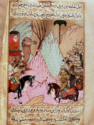 Rashidun Caliphate - Aisha leading the Battle of the Camel against the armies of the fourth Rashidun caliph, Ali