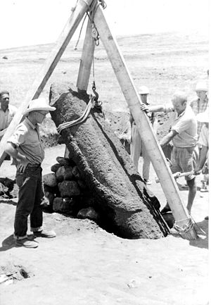 Ahu Akivi - William Mulloy and a moai being restored at Ahu Akivi