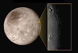 Geology of Charon - New Horizons image of Charon showing craters, grooves, and a depression with a mountain