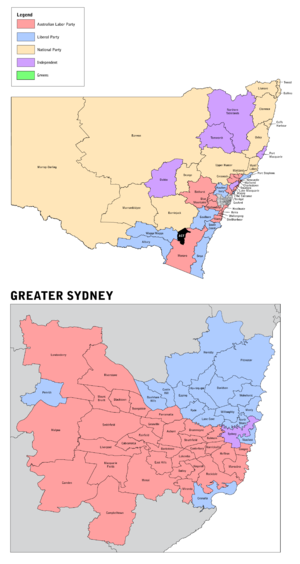 New South Wales state election, 2011 - New South Wales electorates by party before the election