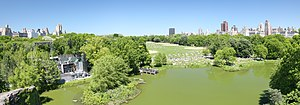 Great Lawn and Turtle Pond - Delacorte Theater, Turtle Pond, and the Great Lawn, from Belvedere Castle