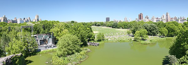 Panoramic view including Delacorte Theater, Great Lawn and Turtle Pond