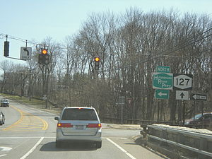 New York State Route 127 - NY 127 southbound at the northbound Hutchinson River Parkway ramp in Harrison