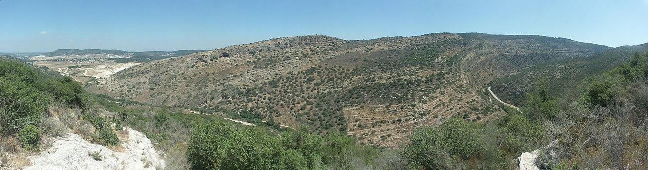מבט פנורמי על אפיק נחל שורק, בחלק המערבי של הרי ירושלים