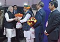Narendra Modi being welcomed by the Minister of State for Finance and Corporate Affairs, Shri Arjun Ram Meghwal, on his arrival at the inauguration ceremony of the India International Exchange in GIFT City, Gandhinagar.jpg
