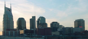 The skyline of Nashville, Tennessee at dusk. P...