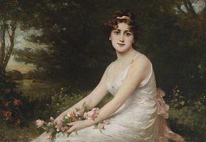 Du bist wie eine Blume, WAB 64 - Junge Dame mit Rosen am Seeufer, Nathanael Sichel