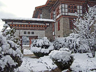 Eastern South Asia - Snow in Thimphu. The picture was taken at the National Library of Bhutan