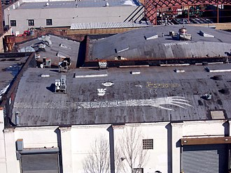 Neck Face - One of two giant Neck Face tags on the rooftops of Gowanus. You can see these as the F train goes outside in Brooklyn