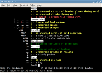 """NetHack - A player's inventory, as displayed after application of the """"menucolors"""" patch"""
