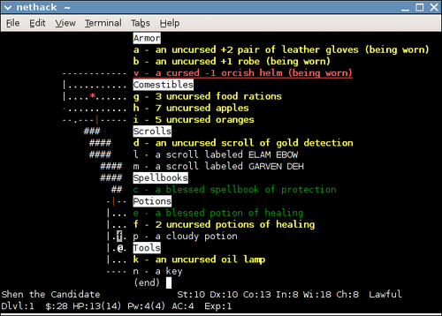 "A player's inventory, as displayed after application of the ""menucolors"" patch Nethack-inventory.png"