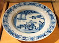 Netherlands plate depicting shoemaker in shop, Delftware, 17th century - Bata Shoe Museum - DSC00284.JPG