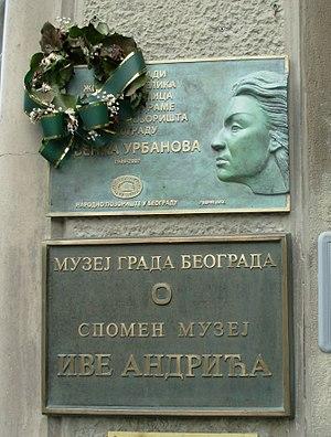 Nevenka Urbanova - Memorial plaque at the Belgrade City Museum