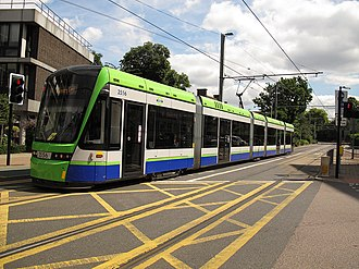 Transport in London - A Tramlink tram on Lebanon Road in Croydon