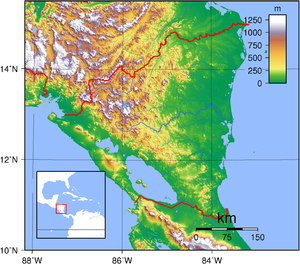 Outline of Nicaragua - An enlargeable topographic map of Nicaragua
