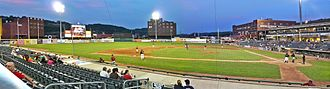 Appalachian Power Park - The view from Rowdy Alley: night game at Appalachian Power Park, July 2010, vs Lexington Legends.