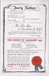 "Flyer labeled ""Jury Notice"" at the top, followed by a mock notification that the recipient is called to be a juror at the trial of Karen Andre. Red text across the middle of the page says ""The Night of January 16th"" in all caps. Red text at the bottom of the page gives the name and address of the Ambassador Theatre."