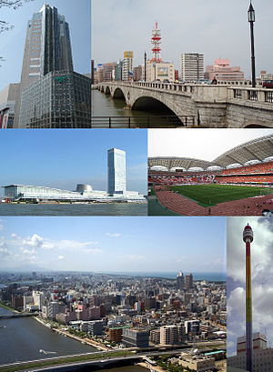 Niigata, Niigata - From top left: NEXT21, Bandai Bridge, Toki Messe, Niigata Stadium, Central Niigata and Shinano River in the night, Rainbow Tower