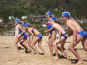 Nippers at start position before their swim at Stanwell Park beach. NippersBeforeSwim.jpg
