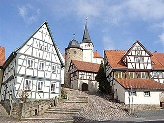 Nordheim vor der Rhön - Town center with the Church of Saint John the Baptist