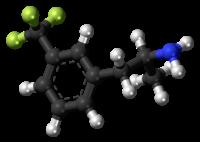 Pilk-kaj-bastona modelo de la norfenfluraminmolekulo