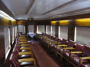 Victorian Railways S type carriage - Interior of the Parlor Car in its present-day configuration.
