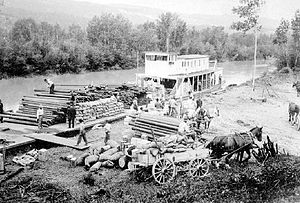 Nowitka - Nowitka and barge unloading construction supplies at landing at Edgewater, BC, ca 1914