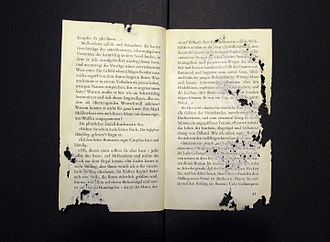 Silverfish - Pages in a book damaged by silverfish that consumed portions of it.