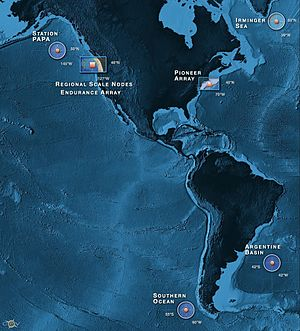 Ocean Observatories Initiative - OOI Station Map.  Credit: OOI Regional Scale Nodes program and the Center for Environmental Visualization, University of Washington