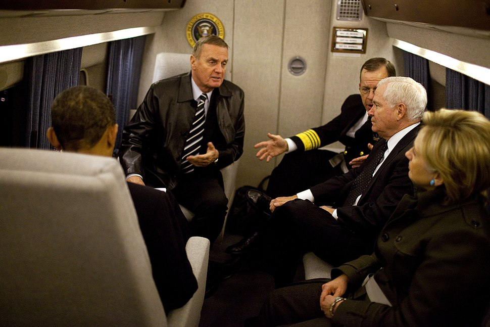 Obama, Clinton, Gates, Jones and Mullen in Marine One